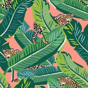 """8"""" Cheetah & Tropical Leaves - Bright Peach"""
