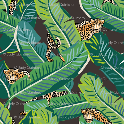 "4"" Cheetah & Tropical Leaves - Dark Brown"