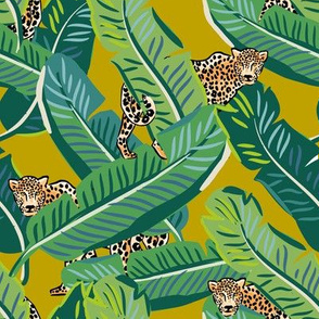 "8"" Cheetah & Tropical Leaves - Mustard"