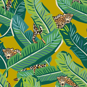 "21"" Cheetah & Tropical Leaves - Mustard"