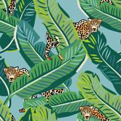"21"" Cheetah & Tropical Leaves - Muted Aqua"