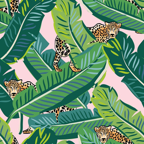 "21"" Cheetah & Tropical Leaves - Pink"