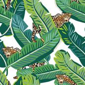 """21"""" Cheetah & Tropical Leaves - White"""