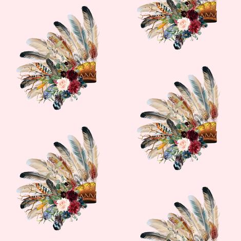 "4"" Boho Tiger Headdress - Blush fabric by shopcabin on Spoonflower - custom fabric"