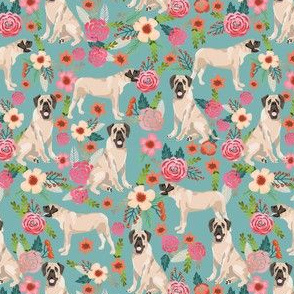 english mastiff (smaller) florals dog breed fabric blue