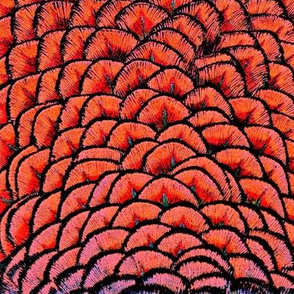 Red Pineapple Feathers