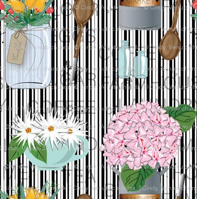 Modern Farmhouse Charm, Black and White Stripe, Mason Jar, Country charm, Farmhouse, Country Kitchen, Flower arrangement