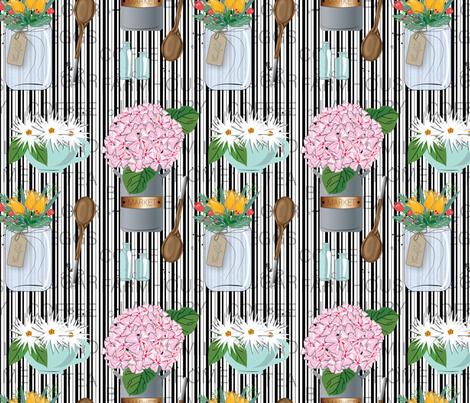 Modern Farmhouse Charm, Black and White Stripe, Mason Jar, Country charm, Farmhouse, Country Kitchen, Flower arrangement fabric by applebutterpattycake on Spoonflower - custom fabric