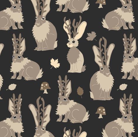 Jackalope Forest - Black fabric by jannasalak on Spoonflower - custom fabric