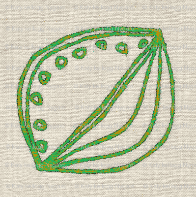 green seed on linen