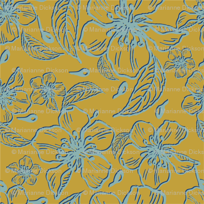 Anenome flowers mustard  and blue