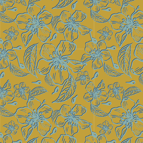 Anenome flowers mustard  and blue fabric by dicksonme on Spoonflower - custom fabric