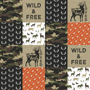 Wild&Free - woodland wholecloth w/orange - you are so deerly loved C2 C18BS