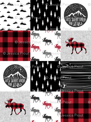 Let's Sleep under the Stars & Moose  patchwork quilt top || buffalo plaid C18BS