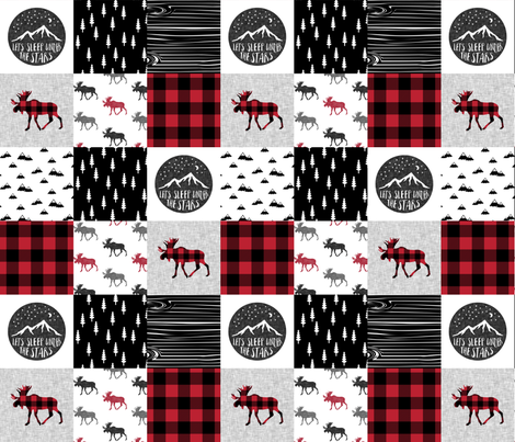 Let's Sleep under the Stars & Moose  patchwork quilt top || buffalo plaid C18BS fabric by littlearrowdesign on Spoonflower - custom fabric
