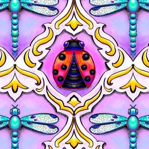 jeweled insect damask