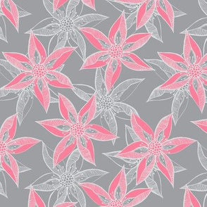 Love Blooms at Dawn (# 12), Rosy Pink on Mystic Grey with Silver Mist - Medium Scale