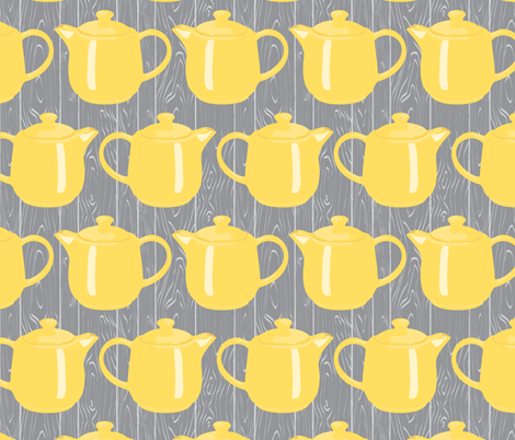 afternoon tea on the barnwood porch - vertical wood grain med grey fabric by groundnut_apiary on Spoonflower - custom fabric