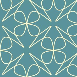 Buttercream & Mid Teal Flowers
