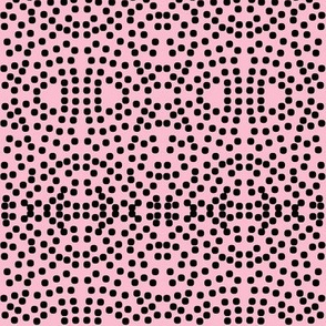 Twinkling Black Dots on Lolly Pink - Medium Scale