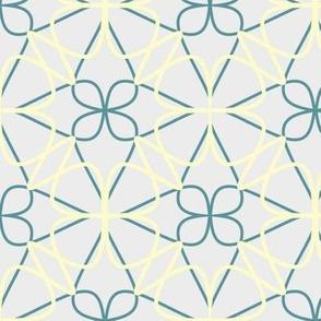 Buttercream, Mid Teal, & Light Gray Floral
