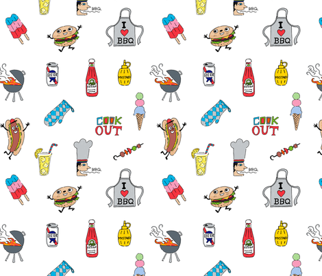 cookout fun white fabric by andibird on Spoonflower - custom fabric