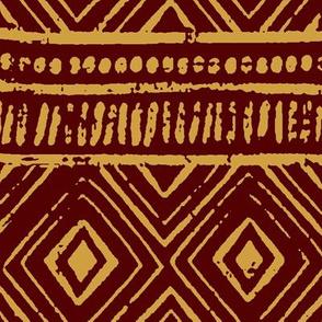 Mud Cloth // Maroon & Apache Yellow // Large