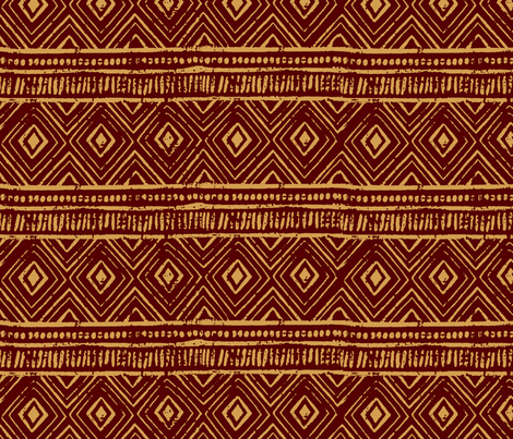 Mud Cloth // Maroon & Apache Yellow // Small fabric by thinlinetextiles on Spoonflower - custom fabric