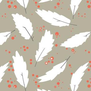 leafs dots - beige