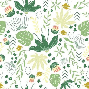 Dark Green Tropical Florals on White