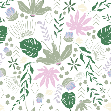 Pastel Tropical Floral on White fabric by sahndamarie on Spoonflower - custom fabric