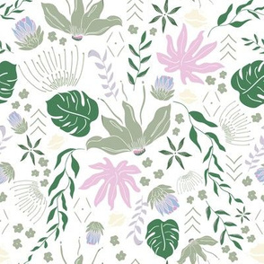 Pastel Tropical Floral on White