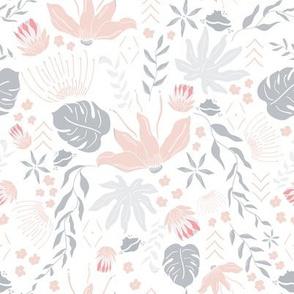 Peach Grey Tropical Floral