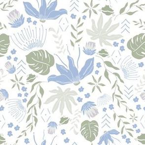Pastel Blue Tropical Florals