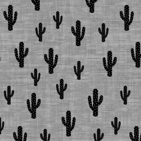Cactus - Black Gray Texture - Medium fabric by kimsa on Spoonflower - custom fabric