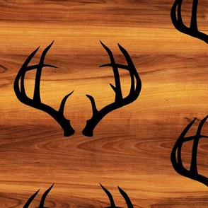 Deer Antlers // Dark Wood Grain // Large