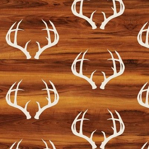 Deer Antlers in Bone // Wood Grain // Small