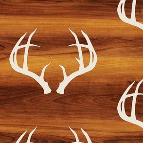 Deer Antlers in Bone // Wood Grain // Large