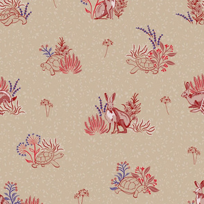 Tortoise and Hare Buff and Burgundy