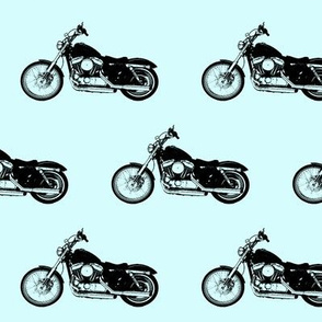 """4"""" Motorcycles on Light Blue"""
