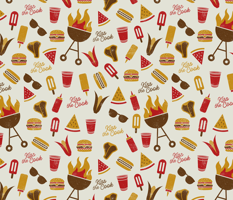 Kiss the Cook Summer BBQ fabric by latheandquill on Spoonflower - custom fabric