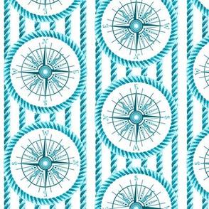 wind rose and rope aqua blue