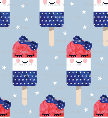 red white and blue popsicles - happy face - on blue 2