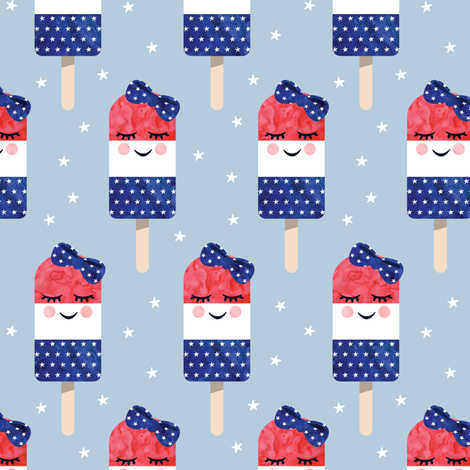 red white and blue popsicles - happy face - on blue 2 fabric by littlearrowdesign on Spoonflower - custom fabric
