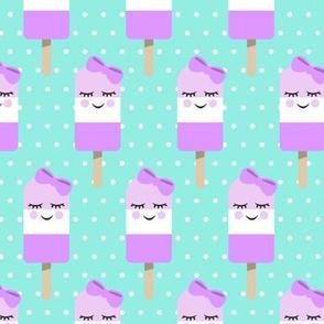 Cute Popsicles - purple on aqua polka dots