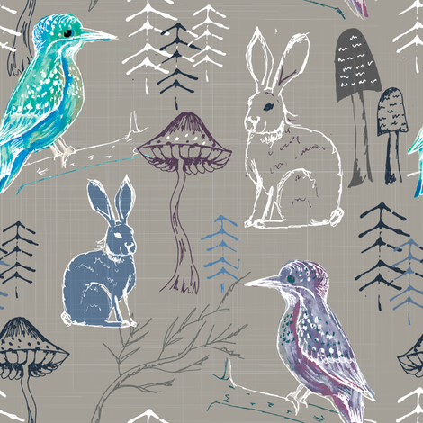 king fisher dark ai-01 fabric by gemmacosgroveball on Spoonflower - custom fabric