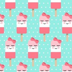 Cute Popsicles - two pink on aqua polka dots