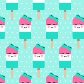 Cute Popsicles - pink on aqua polka dots