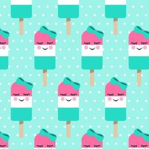 Cute Popsicles - pink on aqua polka dots