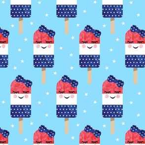 red white and blue popsicles - happy face - on blue